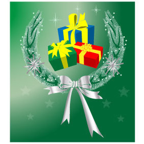 Xmas Gifts And Wreath Vector - бесплатный vector #218489