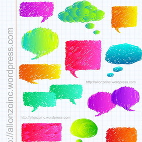 Hand Drawn Speech Bubbles 2 - vector #218569 gratis