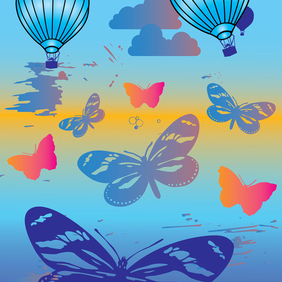Hot Air Balloons And Butterflies - vector gratuit #219529