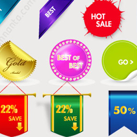 30 Sales Tags Vector Graphics - vector #220699 gratis