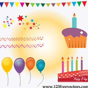 Birthday Cake Vector - бесплатный vector #220799