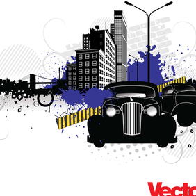 City Street Vector Art With Vintage Cars - Free vector #220939