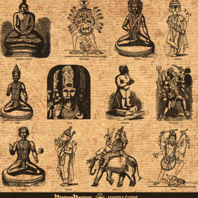 Hindu Gods: Dieties Of India Engravings - Free vector #220959
