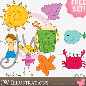 Beach Time - Free vector #221099