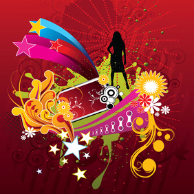 Vector Woman Silhouette On Abstract Flower Background - vector gratuit #221169