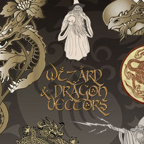 Dragon & Wizard Vectors - Free vector #221249