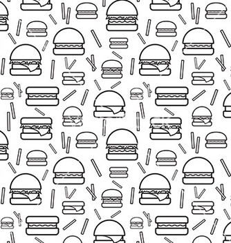 Free seamless monochrome pattern burgers and fries vector - Kostenloses vector #221769