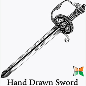 Hand Drawn Sword - Free vector #221979