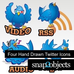Four Hand Drawn Twitter Icons - Free vector #222229