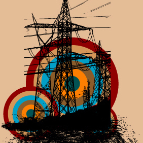 Retro Electric Tower - vector #222659 gratis