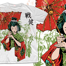 Geisha T-shirt Design - Free vector #222699