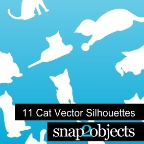 11 Cat Vector Silhouettes - Free vector #222779