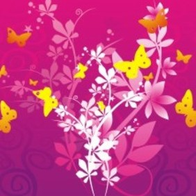 Flowers & Butterflies - vector gratuit #222929