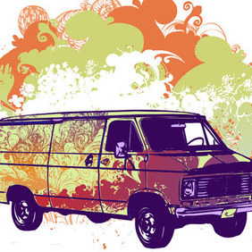 Psychadelic Van Illustration - Free vector #223049