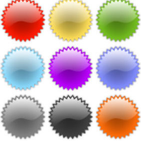 Glass Badge Vectors - Free vector #224009