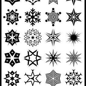 24 Abstract Snowflake Shapes B - Free vector #224039