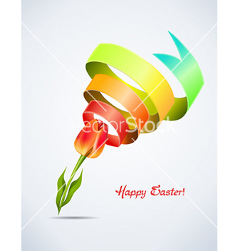 Free tulip with colorful ribbon vector - Free vector #224959