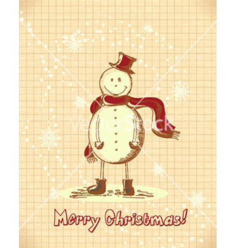 Free christmas with snow man vector - vector gratuit #227589