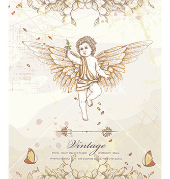 Free angel with floral vector - vector gratuit #228349