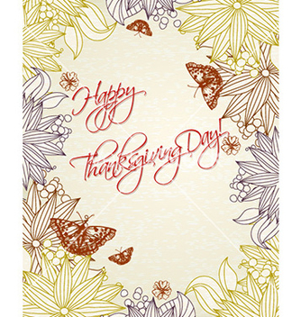 Free happy thanksgiving day with flowers vector - vector gratuit #231789