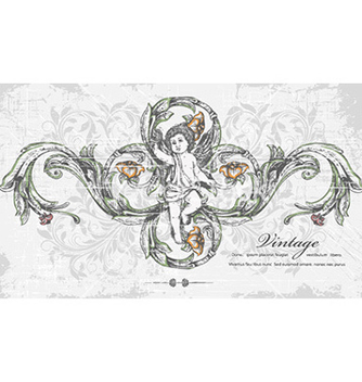 Free angel with floral vector - Kostenloses vector #231969