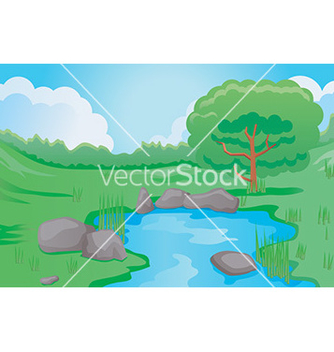 Free cartoon pond scene vector - Kostenloses vector #232969