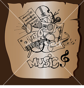 Free doodle music on a brown background vector - Free vector #233159