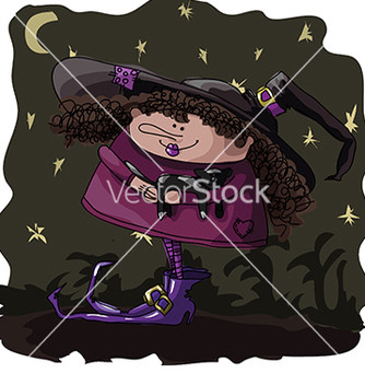 Free figure witch with a cat on halloween vector - vector gratuit #233279