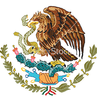 Free hand drawn of mexico coat of arms vector - бесплатный vector #233619