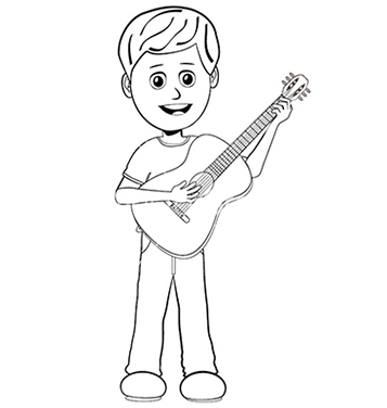 Free boy playing guitar outline vector - vector gratuit #233669