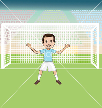 Free a goal keeper standing in front of a soccer goal vector - бесплатный vector #233789