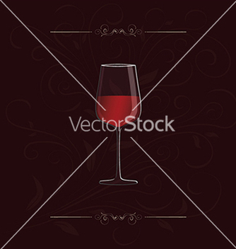 Free glass of red wine with floral design in background vector - vector gratuit #233899