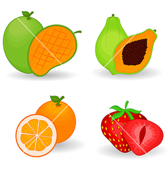 Free delicious fruit set vector - vector gratuit #234239