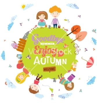 Free autumn with happy kids vector - Kostenloses vector #234289