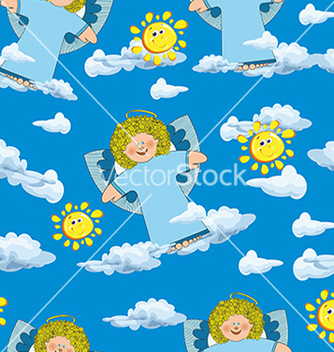 Free pattern with angels and clouds on a blue vector - Free vector #234659