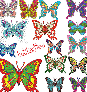 Free a large set of colored butterflies vector - Free vector #234709