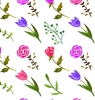 Free watercolor floral seamless pattern vector - Kostenloses vector #234929