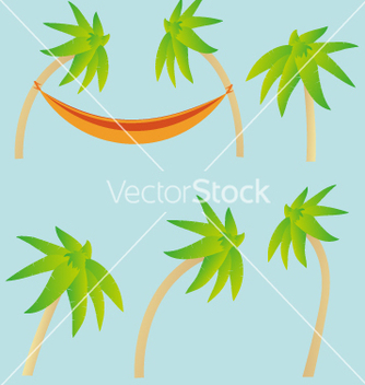 Free palm trees and hammock elements vector - Free vector #234939