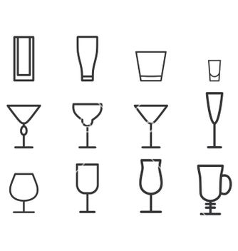 Free beverage thin line symbol icon cocktails vector - vector gratuit #234969