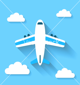 Free simple icons of plane and clouds with long shadows vector - Free vector #235199