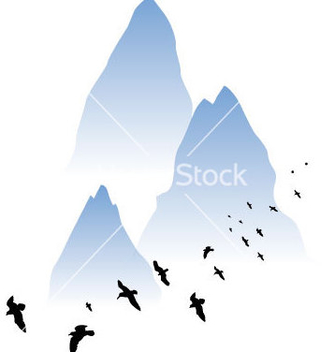 Free watercolor mountain vector - Free vector #235649