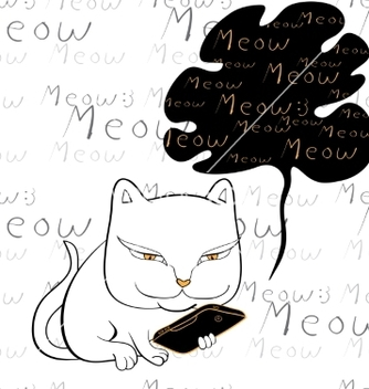 Free cat reading smartphone vector - Kostenloses vector #235729