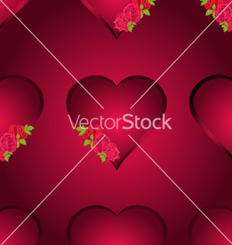 Free seamless texture hearts with three roses vector - Free vector #236149