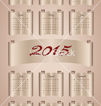 Free calendar 2015 on aged paper scroll vector - Kostenloses vector #236179