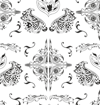 Free black and white damask pattern vector - Free vector #236209