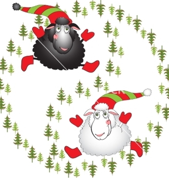 Free black and white cartoon sheeps on a white vector - vector gratuit #236269