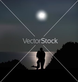 Free loving couple on the seashore at night vector - бесплатный vector #236339