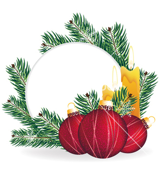 Free christmas pine wreath and decorations vector - бесплатный vector #236369