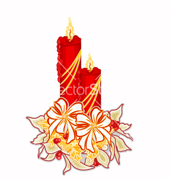 Free christmas decoration candle with white poinsettia vector - vector gratuit #236729