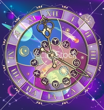 Free watch with astrological signs vector - Free vector #236869